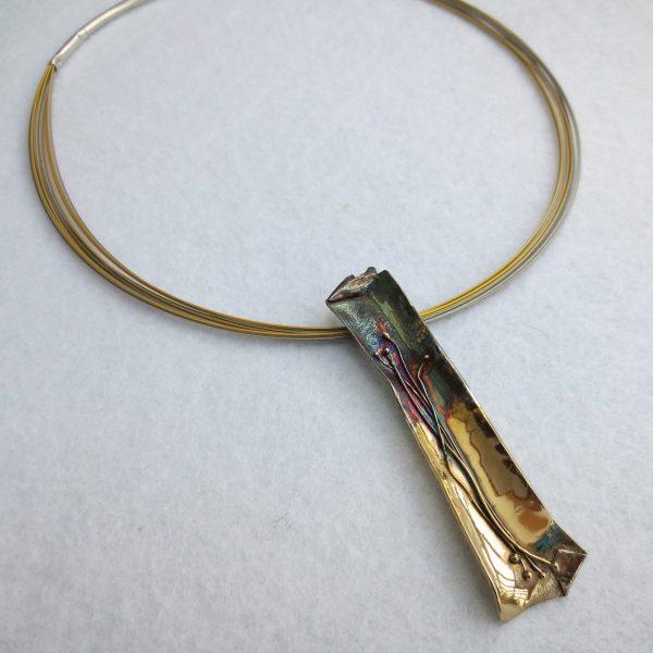 Halskette antiklastisch Silber geschwärzt, teilvergoldet