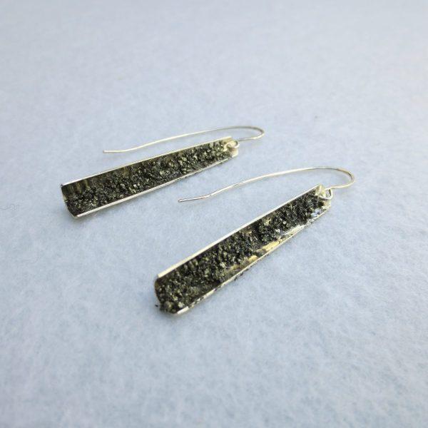 Ohrring silber mit Pyritkristallen