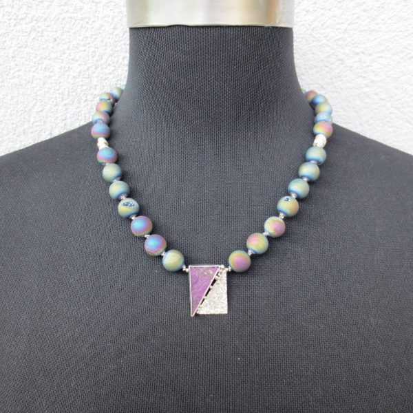 geknüpfte Regenbogenachatkristallkette mit Sterlingsilber-Purpurit Mittelteil